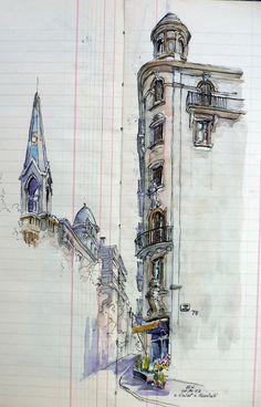 La calle Calaf, a la izquierda la iglesia de San Antonio de Padua, desde el Mercado Galvany... Eduardo Vicente