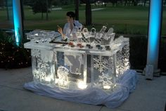 An custom ice bar used for vodka and caviar service. Look at the custom ice cutouts for the caviar tins and the tiered bottle display for five vodka bottles. Snow And Ice, Fire And Ice, Ice Sculpture Wedding, Boat Wedding, Wedding Reception, Dream Wedding, Ice Luge, Castle Party, Snow Sculptures