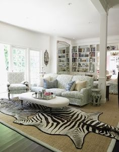 Living Room Zebra Rug this room has it all--color, texture, light, beautifully pantina'd