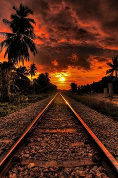 photo: sunset at the end of the tracks ...