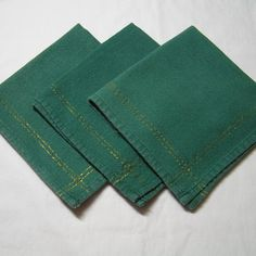 Set of 3 Vintage 1960s Forest Green with Metallic Gold Stripes Lunch Napkins, Cotton, Made in India, Great for Christmas Table & Decorating by VictorianWardrobe on Etsy
