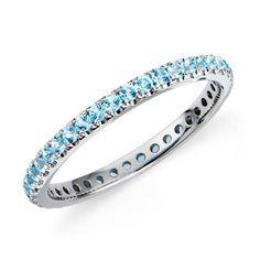 Blue Topaz Eternity Ring in 18k White Gold