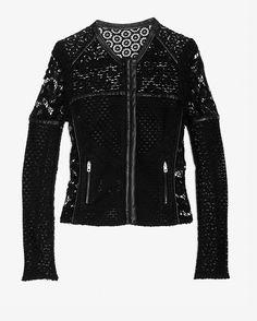 Leather Trim Floral Crochet Jacket IRO