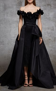 Marchesa Off The Should Lace Cocktail Dress