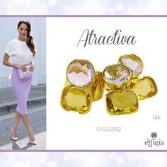 Luce perfecta con este juego de oro amarillo de 18K con Citrino y Amatista ideal para ti. ¡Brilla siempre con Effigia! #Outfit #Oro #Joyas
