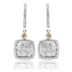 Simon G. Simon Set Collection Earrings - These alluring Simon Set Collection earrings by Simon G. are 18kt white and yellow gold. They're comprised of 18 princess cut white diamonds and 2 round fancy yellow diamonds. They have a total carat weight of 1.01 carats.
