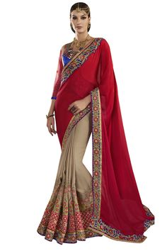 Buy Now Red-Beige Fancy Embroidery Georgette Half-Half Wedding Wear Saree only at Lalgulal.com. Price :- 4,632/- inr. To Order :- http://goo.gl/BZm5c3 COD & Free Shipping Available only in India