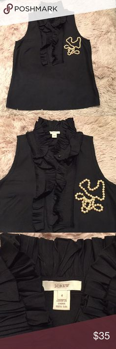 J. CREW - Black Silk Sleeveless Blouse w/ Ruffles J. Crew - 100% Silk   I have this top in multiple colors because I love it so much.  It goes great alone or under a blazer as well. I am a couple sizes up now and it doesn't fit me. But like all of my clothes, it is in great condition. Dry cleaned and ready to go.  Grab it, you won't regret it! J. Crew Tops Blouses