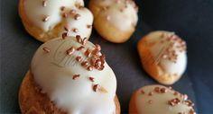Mini White Chocolate Choux Buns with Caramel Creme Patissiere