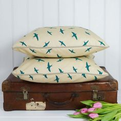 Sneaky Peek Boutique - Swallow Cushion by Becky Broome, £32.00 (http://www.sneakypeekboutique.com/swallow-cushion-by-becky-broome/)
