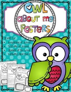 All About Me posters. Perfect for the first day!New Cover: Same Great PostersThese 8.5 x 11 inch All About Me Posters are owl themed that your students will love. These adorable printables  can be used as handouts for the first day of school or use these posters for students to create and display to share about themselves, their school, and their classroom.