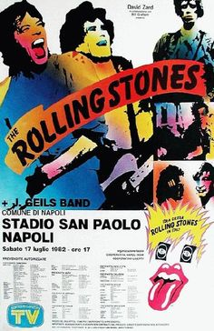 Concert poster for The Rolling Stones and J Geils Band in Naples, Italy in 1982. 11 x17 inches on card stock.