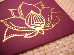 Indian Lotus Flower  Hand Stamped and Embossed by Weldonberry, $6.95
