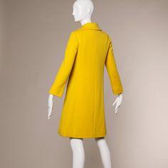 1960s Mod 2-Piece Vintage Yellow Wool Shift Dress and Coat Ensemble