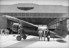 1932 -Amelia Earhart in front of Pacific Airmotive Corp. hangar in Burbank.