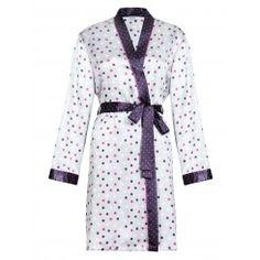 M&S Spotty Print Long Sleeve Satin Kimono. Sizes 8-22
