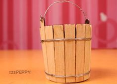 Easy Popsicle Stick Crafts | How to Make Popsicle Bucket - Step by Step Picture and Video Tutorial