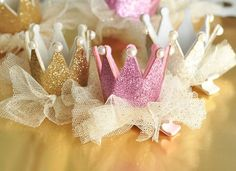 1 Pink, Gold or Silver Glitter Crown Clip