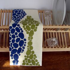 Block Printed Hemp Soy Kitchen Towel in Olive and by HomeSweet, $16.00