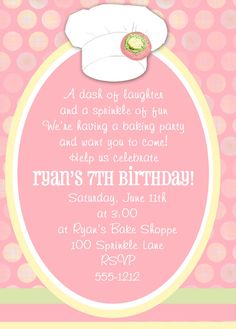 Cake Boss or Baking Party Invitations by passforparties on Etsy, $15.00