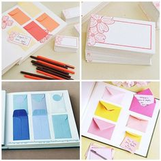 guestbook: attach envelopes into a scrapbook & let guests write their wishes on cards & place them in the envelopes - so cute!