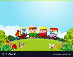 Cartoon happy kids on a colorful train vector image on VectorStock Classroom Wall Decor, Kindergarten Classroom Decor, Animal Crafts For Kids, Art For Kids, Train Cartoon, Train Vector, School Coloring Pages, Kids Background, Wallpaper Decor