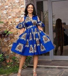 Items similar to Blue African Ankara midi dress cold shoulder dress midi dress gathered dress short dress African American Fashion, African Inspired Fashion, Latest African Fashion Dresses, African Print Dresses, African Print Fashion, Africa Fashion, African Dress, Ankara Short Gown Styles, Short Gowns