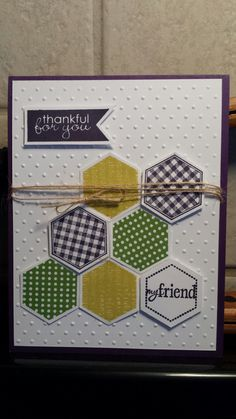 Stampin' Up! Girlfriend Originals, six sided sampler card with banner greetings