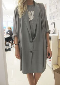 oversized blazer dress and nike tee. tonal dressing from the girls of  anywho. 4e4c757713