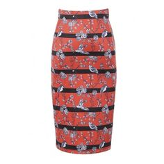 Stripes Floral Print Split Back Bodycon Midi Skirt (300 ARS) ❤ liked on Polyvore featuring skirts, floral knee length skirt, bodycon skirt, mid-calf skirt, red bodycon skirt and red striped skirt