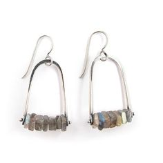 Forged Ball Earrings with Labradorite by Erica Stankwytch Bailey. heat rivet trapeze