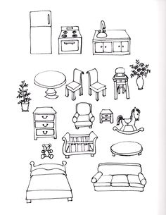 furniture sketch Smaller version of paper doll furniture. Doodle Art Drawing, Drawing For Kids, Kids Activities At Home, Doll House People, Children Sketch, Black And White Stickers, Doodle Inspiration, Sketch Notes, Home Icon