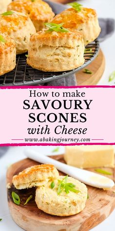 This Savory Scones recipe is perfect for breakfast, afternoon tea, snack, appetiser or even your kids lunchbox. The Cheddar Cheese Scones are not only super easy and quick to make, they taste absolutely delicious! The simple vegetarian scones will be great topped with butter, cheese or your favourite dips - or just eaten on their own. Cheese Scones, Savory Scones, Savory Muffins, Savoury Pastry Recipe, Savoury Baking, Savoury Cake, Butter Cheese, Cheddar Cheese, Afternoon Tea Recipes