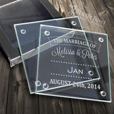 A personalised engraved wedding coaster is a beautiful way of saying thankyou and showing your appreciation to your wedding guest. Our glass coasters are high quality and come with small silicone feet, smooth beveled edges and personalised laser engraving. Even add your guests names for no extra charge. A unique bomboniere item for your guests that is not only thoughtful but also very useful. #bonbonniere #GiftwareDirect #wedding