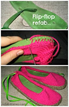 Use old flip-flops (thongs) to make new slippers #repurpose #refashion #trashion