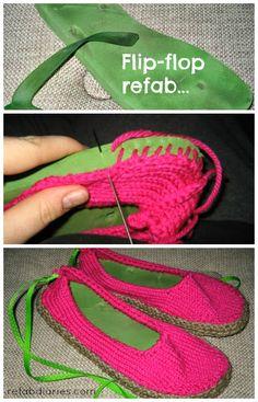 Use old flip-flops (thongs) to make new slippers #repurpose #refashion #trashion