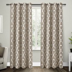 Dress your window in sophisticated style with the Gates Grommet Top Room Darkening Window Curtain Panel Pair. Decked out in a unique geometric design the room darkening panels bring a contemporary look to any room's décor. Home Curtains, Grommet Curtains, Blackout Curtains, Window Curtains, Moroccan Curtains, Cream Curtains, Privacy Curtains, Curtains Living, Thermal Curtains