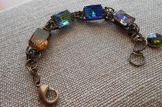 Rhinestone Bracelet with Vintage Multicolored Waves by UrsyllaBs, $125.00