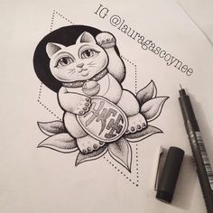 Lucky cat tattoo design by Laura Gascoyne. Japanese cat lotus blackwork dotwork drawing
