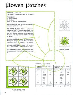 """""""Flower Patches"""" Vintage Quilt Pattern Scan"""