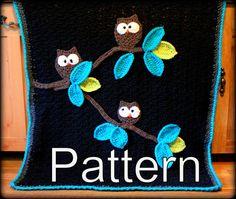 CROCHET BLANKET PATTERN - Owl Baby Blanket Pattern -  Instant Download