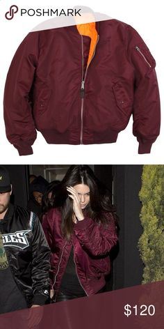 Alpha Industries MA-1 Flight Jacket in Maroon Men's size medium. Jacket has been seen on various celebs, including the Jenner. Alpha Industries Jackets & Coats Bomber & Varsity