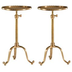 Two Modern Neoclassical Style Adjustable, Brass Side Tables | From a unique collection of antique and modern gueridon at https://www.1stdibs.com/furniture/tables/gueridon/