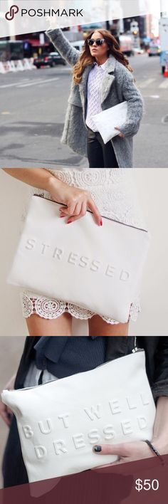 "Zara ""Stressed But Well Dressed"" Oversized Clutch Total Blogger Fave!! So cute and super sassy. Brand new with tags! Approx. 13"" by 9"" Zara Bags Clutches & Wristlets"