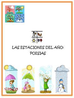 Poesía las estaciones del año con pictogramas.. Asociación Autismo León Weather Vocabulary, Science Bulletin Boards, Bilingual Classroom, Teacher Notebook, Collage Illustration, Learning Spanish, Spanish Class, Spanish Language, Social Science