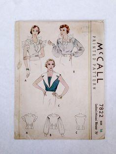 McCall 7822   1930s Ladies' & Misses' Blouse