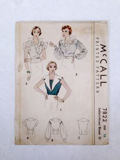 McCall 7822 | 1930s Ladies' & Misses' Blouse