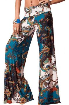 Fashion Bug Sexy Paisley Clubbing Wide Leg Teal Palazzo Pants Plus Size www.fashionbug.us