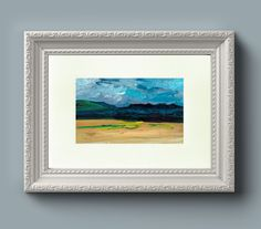 "This unframed original oil painting of the Cuillin mountains, Isle of Sky in the Scottish highlands packs a beautiful sublime horizon into its 18 x 13 cm (5 x 7""). The deep blue distinct skyline of..."