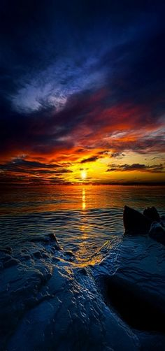 Daybreak - Sunrise over Lake #Michigan at 0 degrees and minus 25 windchill, #USA by Phil Koch